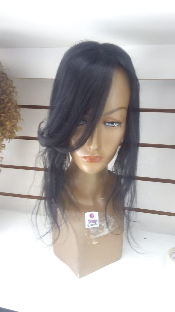 Mini prótese 40 cm imitação de couro cabeludo no meio levemente ondulada